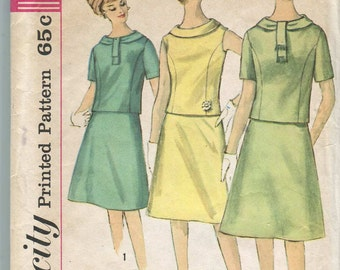 Simplicity 4378 - Vintage 60s 2 piece Dress Pattern - proportioned fit height - 32 bust