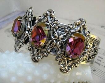 Crystal cuff Bracelet - Vintage Style Swarovski Crystal cuff Bracelet - B300
