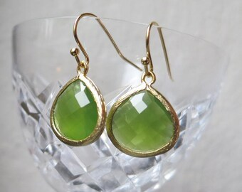 Peridot Opal Green crystal Drop Earrings Gold, Apple Green framed glass stone earrings, Everyday Woodland feminine Modern Jewelry