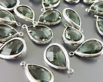 2 Unique gray faceted glass pendants / large grey tear drop glass beads for jewelry making / supply 5060R-GR
