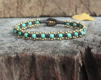 Elfin Turquoise Brass Bracelet