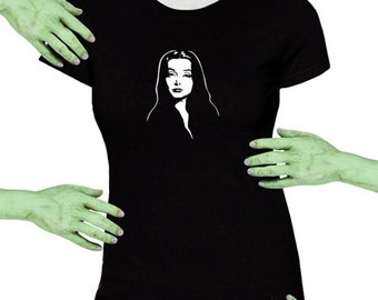 Voodoo Sugar Morticia Addams Gothic Black Missy Fit t-shirt Plus Sizes Available