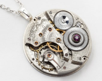 Steampunk Necklace Vintage Waltham engraved pocket watch movement with gears & purple amethyst Swarovski crystal Silver pendant Jewelry gift