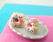 Donut Earrings with Rainbow Sprinkles // MADE TO ORDER // Post Earrings // Mini Donuts Food Earrings