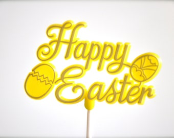 Neon Yellow Happy Easter Cake Topper Sign