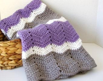 Crochet Baby Afghan in Lavender Purple, Grey, White Baby Blanket