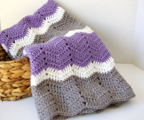 Crochet Baby Afghan In Lavender Purple Grey White Baby
