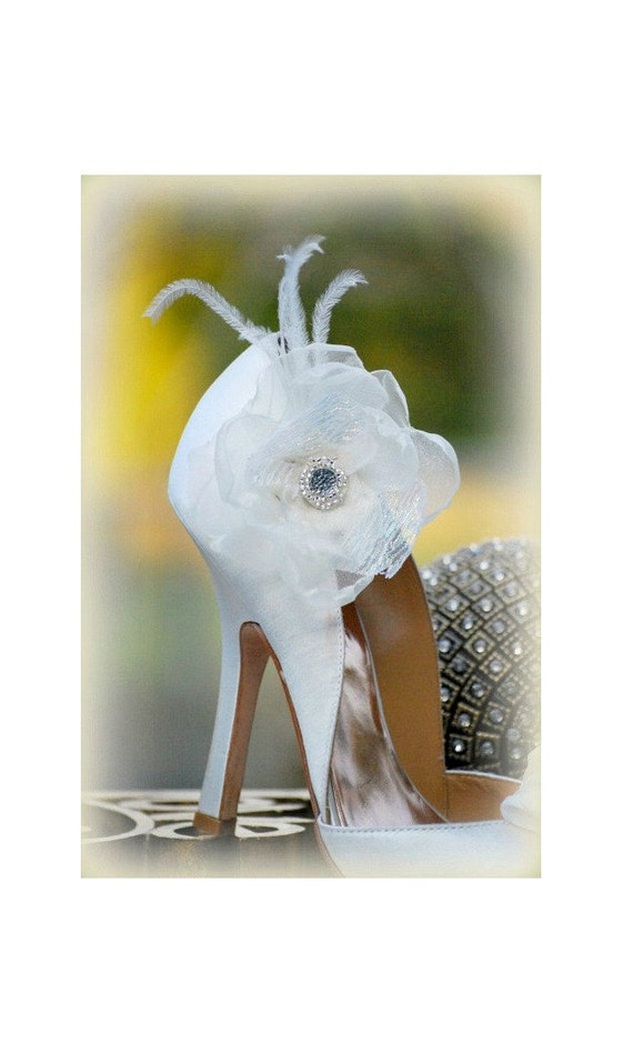 Wedding Shoe Clips IVORY / White & Opal Organza Flower. Bride bridal couture fashion, feminine dainty Pins. Also Aubergine Teal Aqua Coral