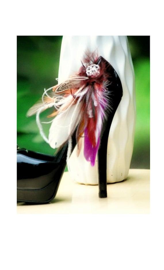 Shoe Clips Set Ivory Brown Burnt Orange Feathers Rhinestone. Bride Bridal Bridesmaid, Feminine Couture Birthday, Statement Boudoir Burlesque