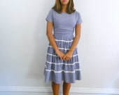 1950s Dress .... Vintage 50s Navy Blue Gingham Dress ... Size Small to Medium