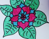 Few Hues Radial Symmetrical Flower Orginal Drawing ACEO