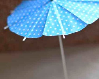 Summer Party drink umbrella, cocktail umbrella, Cake Toppers, polka dot blue, 4th July, summer outdoors big size 5pcs