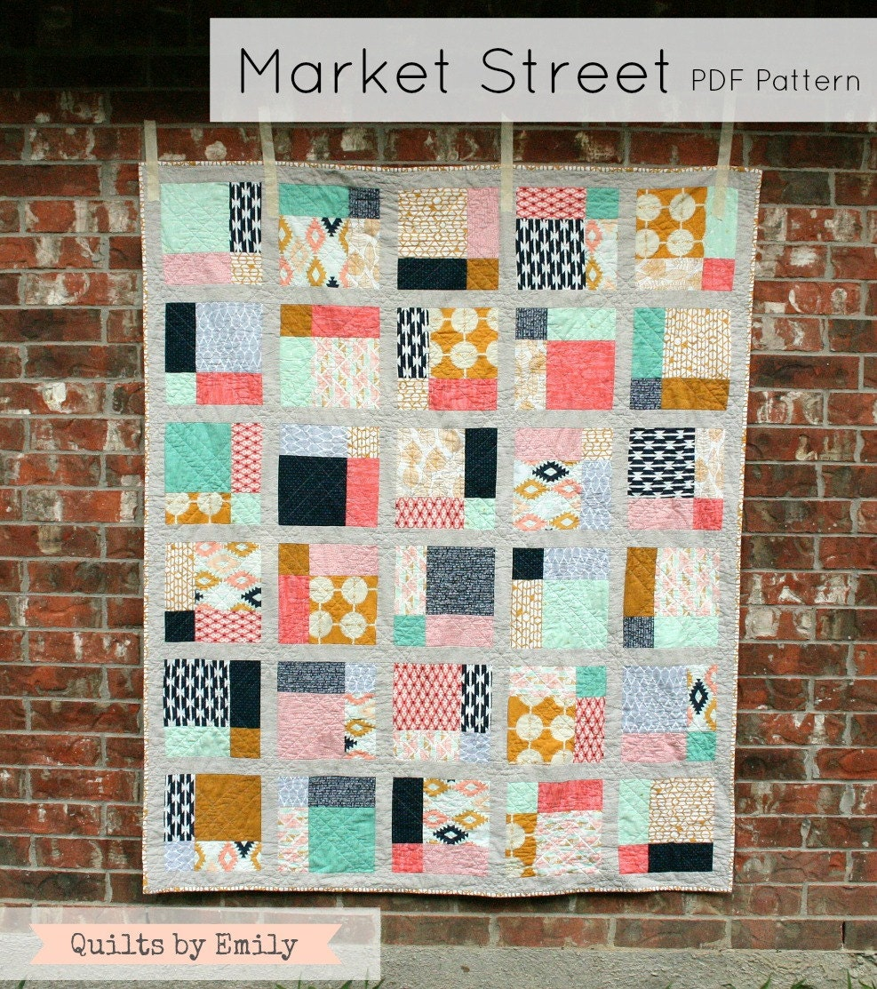 Modern Quilt Patterns Free Download : Market Street Modern Quilt Pattern INSTANT DOWNLOAD