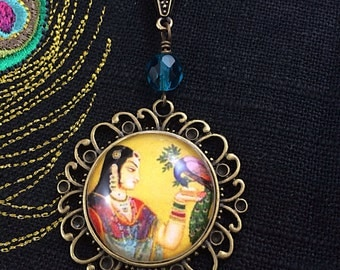 Peacock Art Pendant, India Necklace, Miniature Painting, Mythical Jewelry by MinouBazaar