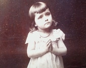Antique PRAYING LITTLE GIRL Victorian Photograph