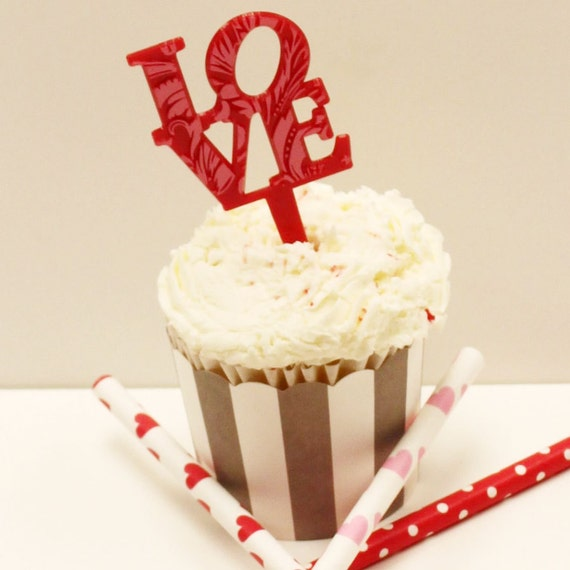 LOVE Cupcake Topper Red LOVE Food Picks by ThePartyFairy ...
