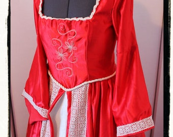 """SALE Bust 42"""" Queen of Hearts Tudor Renaissance Game of Thrones Gown Dress Medieval Red Satin"""