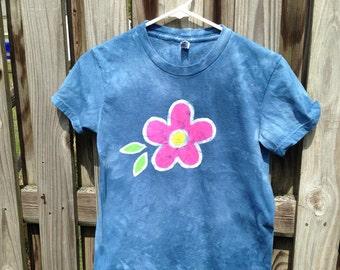 Batik Ladies Shirt (M), Blue Flower Womens Shirt, Ladies Flower Shirt, Batik Womens Shirt, Pink Flower Shirt, American Made Shirt