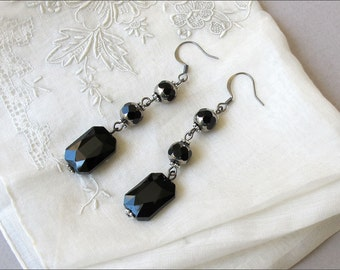 Victorian Black Dangle  Earrings