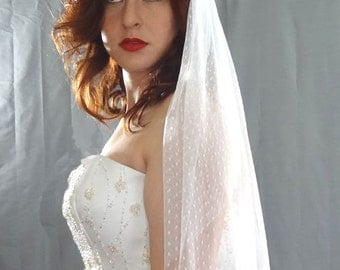 Soft Swiss Dot Veil, Dotted Bridal Veil