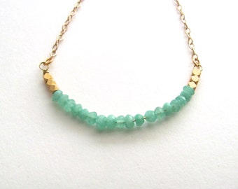 Mint green minimalist chrysophrase necklace on delicate 14k gold plated chain, layering necklace, minimalist