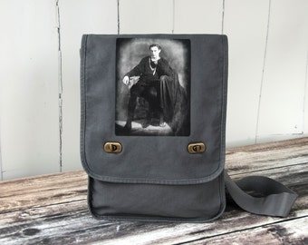 John Barrymore as Hamlet in 1922 - Messenger Bag - Field Bag - Perfect Script Bag for Actors - Smoke Gray - Canvas Bag