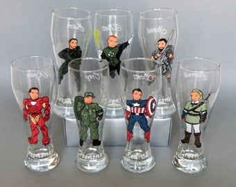 SALE Hand painted bachelor party Personalized customized Beer glasses Handpainted to Likeness Superheroes Costumes