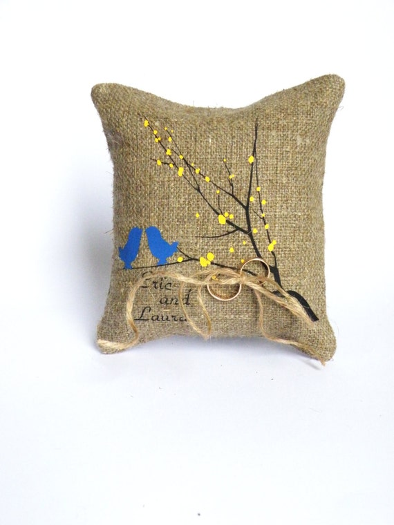 Wedding rustic natural Burlap linen Ring Bearer Pillow Royal Blue Birds and yellow leaves on Black tree and linen rope