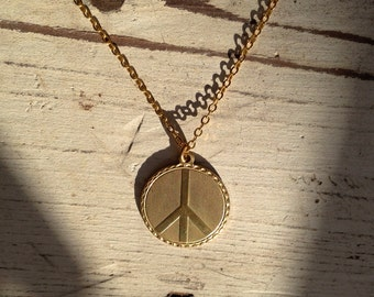 SALE Tiny Brass Peace Symbol Charm Necklace