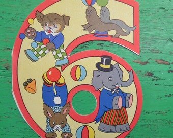 Vintage 30s 40s Birthday Card Age 6 Years Children's Greetings Card Nursery Art 1930s 1940s Circus Animals Elephant Dog Rabbit Seals UNUSED