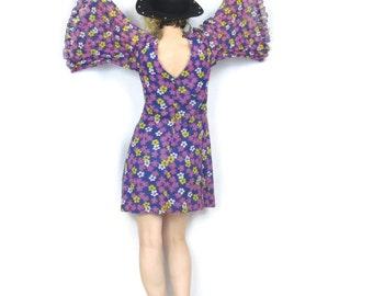 25% OFF SALE 1960s Hippie Floral Angel Sleeve Dress Colorful Mod Bow Tie Festival Long Sleeve Mini Dress (XS/S)