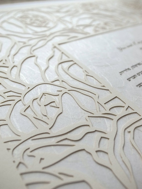 Ketubah Papercut by Jennifer Raichman - Roses Frame on Japanese Washi Paper