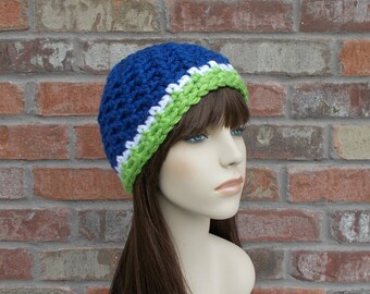 Crochet Beanie Blue Lime Green and White Team Spirit Hat Football Girlfriend Hat Knit Hat Crochet Hat Seattle Beanies for Women and Teens