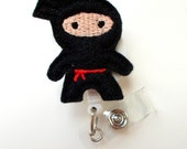 Ninja Black - Retractable ID Felt Badge Holder - Cute Badge Reel - Nurses Badge Holder - Nurse Badge - Teacher Badge