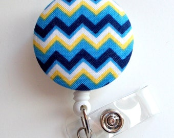 Blue and Yellow Chevron - Retractable ID Badge Holder - Cute ID Badge Reel - Name Tag Holder - Nursing Badge Clip - RN - Teacher Badge