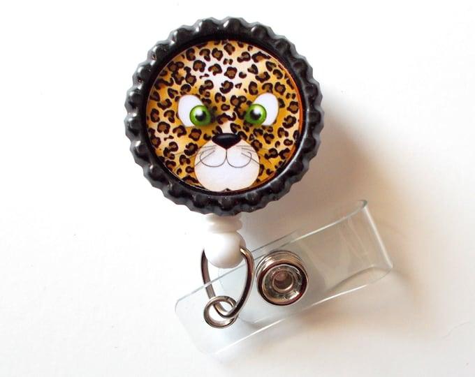 Leopard Face - Retractable Nursing Badge Reels - Nurses Badge Holder - Animal ID Badge Reel - Nurse - Preschool Teacher Badge