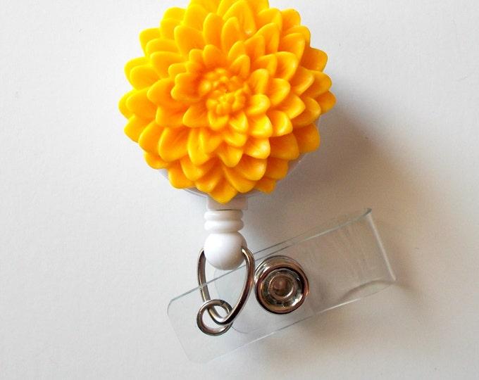 Yellow Chrysanthemum Flower  - Name Badge Holder - Retractable ID Badge Reel  - Nurse ID Badge Clip - Flower Badge Holder