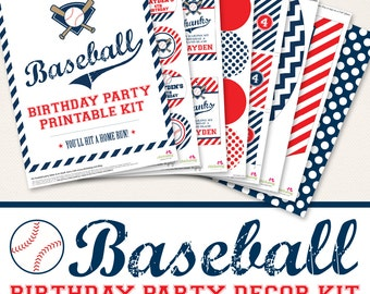 Baseball Birthday Party printable decor kit - Over 45 pages of designs!
