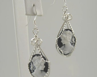 WSE-0041 Lady Cameo Handmade Earring Wire Wrapped with .925 Sterling Silver Wire