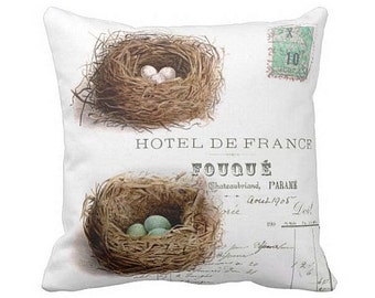 Pillow Cover Spring Nest Turquoise Eggs