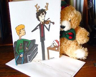 Sherlock BBC Christmas Card - Sherlock Holmes and John Watson - Violin and the Skull