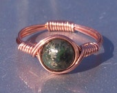 Chalcopyrite Copper Wire Wrapped Gemstone Ring Green Lapis Lazuli