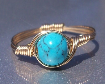 Blue Howlite 14k Yellow Gold Filled Wire Wrapped Ring Custom Sized