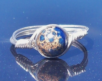 Blue Impression Jasper Wire Wrapped Gemstone Ring