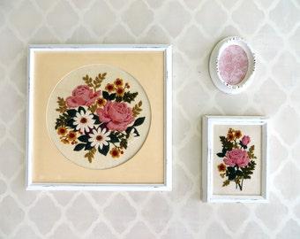 vintage floral rose crewel embroidery framed art collection