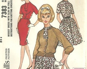 Vintage Sixties Sewing Pattern from McCalls 7383 // Dress Size 14 Bust 34