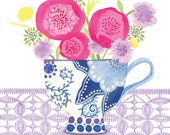 High quality blank greeting card professionally printed from an original design called Teacup Flowers by Claire Leggett