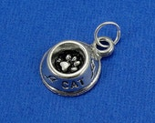 Cat Food Bowl Charm - Silver Cat Bowl with Paw Print Charm for Necklace or Bracelet
