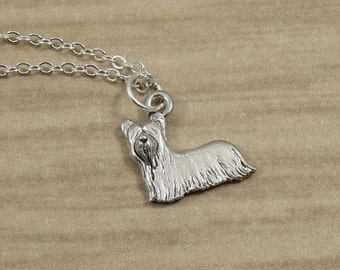 Yorkshire Terrier Necklace, Silver Yorkie Charm on a Silver Cable Chain