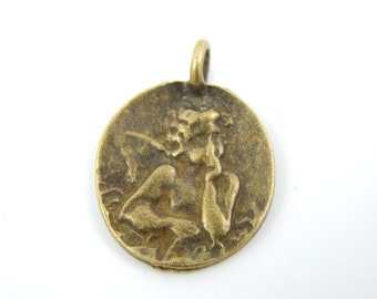 Bronze Guardian Angel Christian Medal - Vintage Style Angel Charm - L4